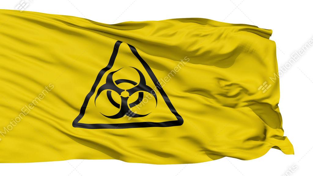 Yellow Biohazard Symbol Wavy Fabric Stock Animation 608517