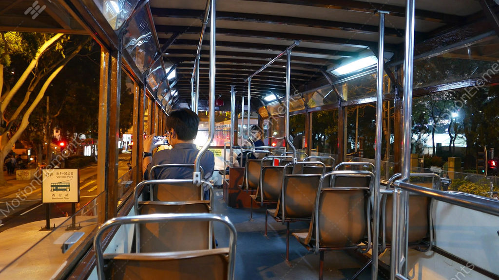 Traditional Double Decker Tram Interior, Night Time, Victoria Park ...