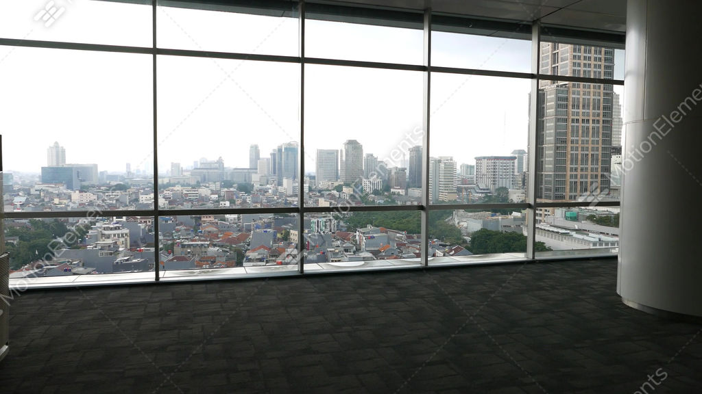 Unfurnished Office Space Full Height Window Aerial City