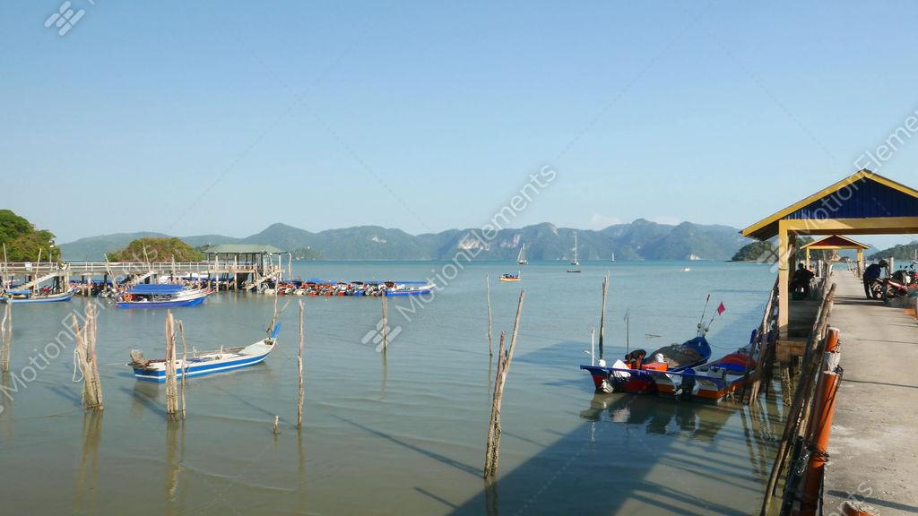 Tropical Island Fishing Boat Moorage Quay Panoramic Stock Video Footage