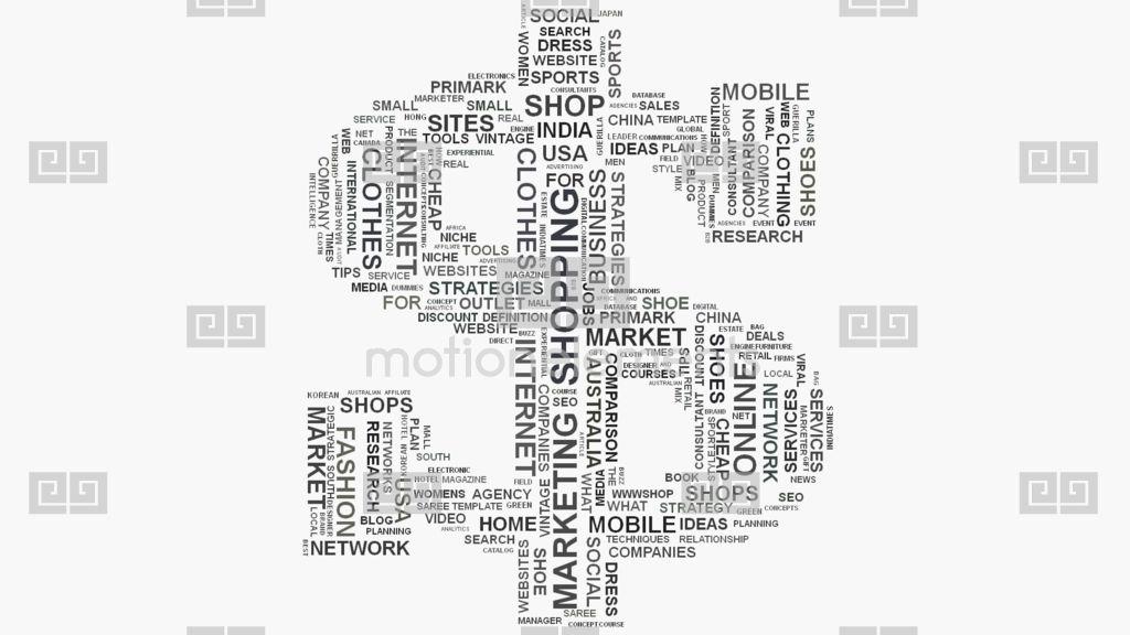 Dollar Symbol Online Shopping Marketing Concept Word Cloud Text