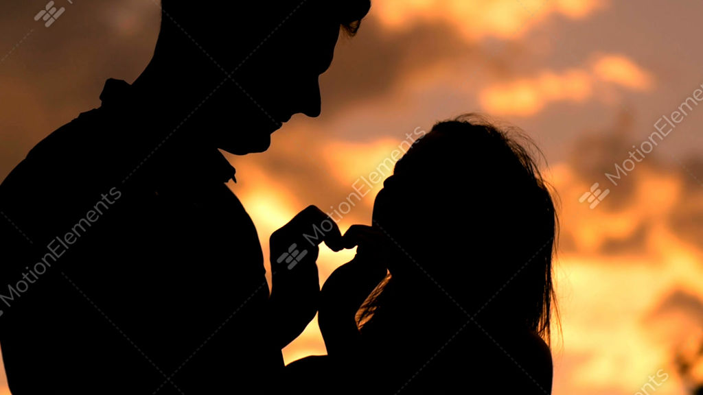 Romantic Young Couple In Love Making A Heart Shape With Stock Video Footage