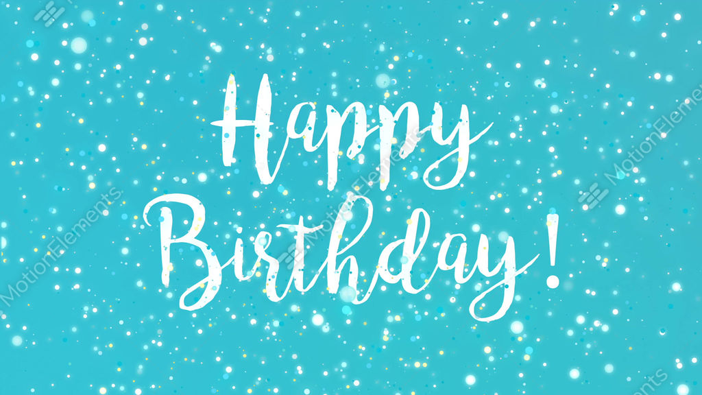 Sparkly Turquoise Blue Happy Birthday Greeting Card Video Stock
