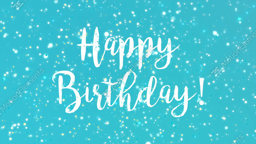 sparkly turquoise blue happy birthday greeting card video
