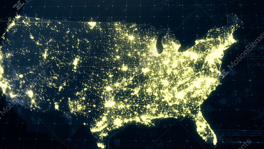Map Of Usa At Night.Usa Map Night Lighting Stock Animation 10313074