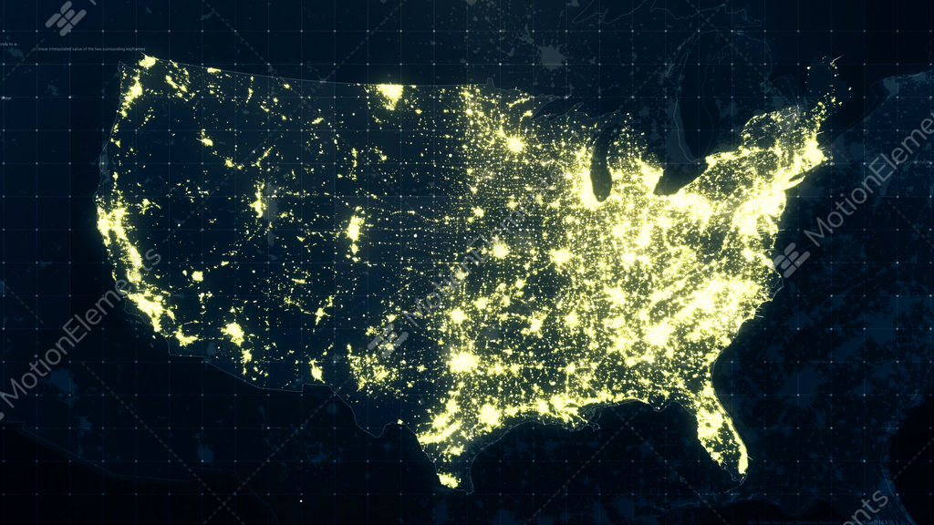 USA Map Night Lighting Rollback Stock Animation | 10313075