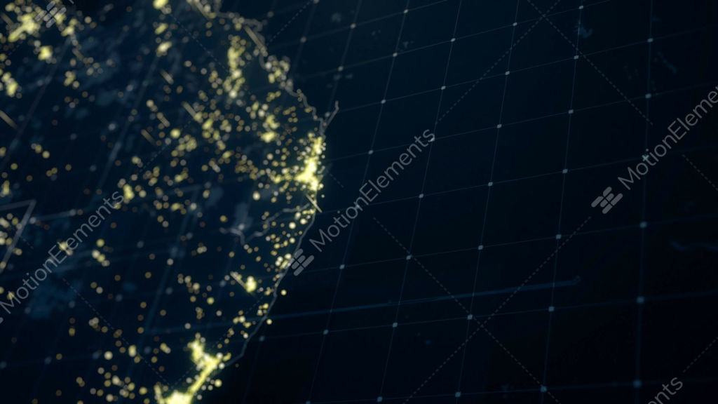 Australia Map Night Lighting Close View Stock Animation | 10313102