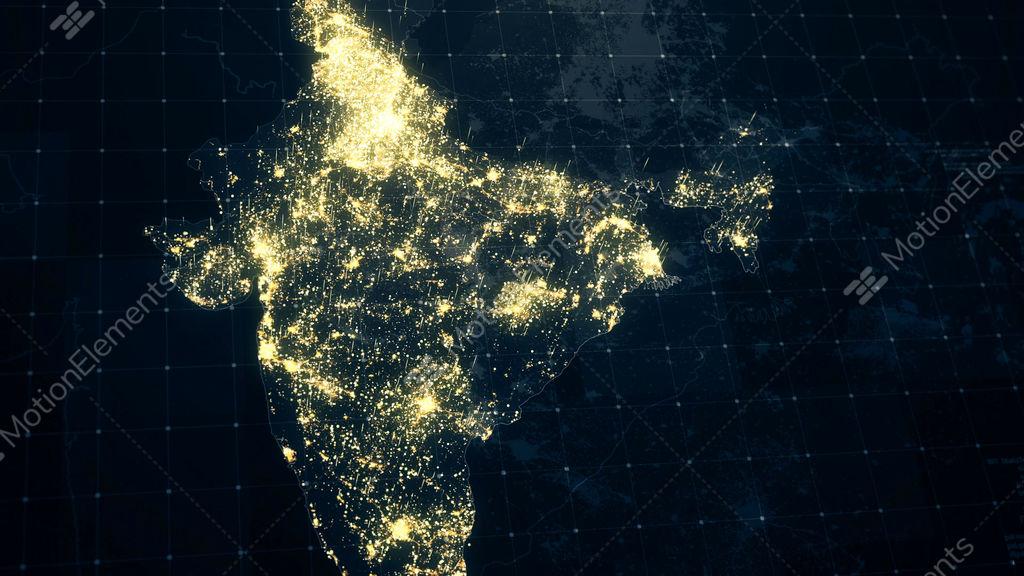 India Map Night Lighting Stock Animation | 10313103