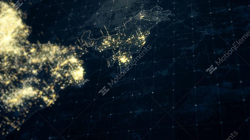 India Map Night Lighting Close View Stock Animation | 10313104