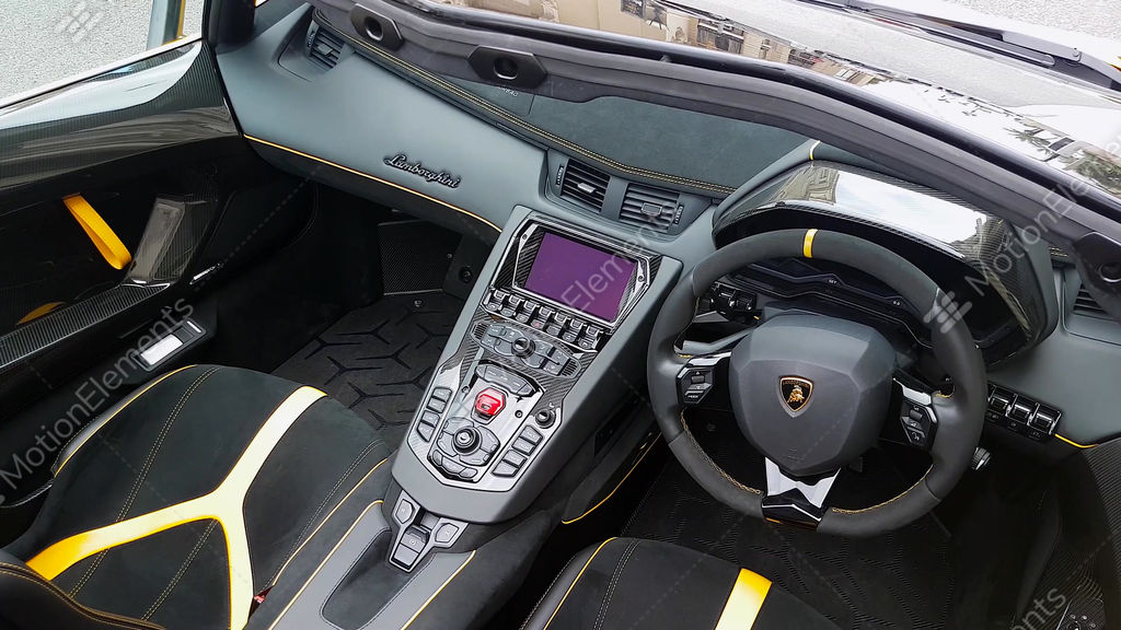 Lamborghini Aventador SV Roadster Interior Stock Video Footage