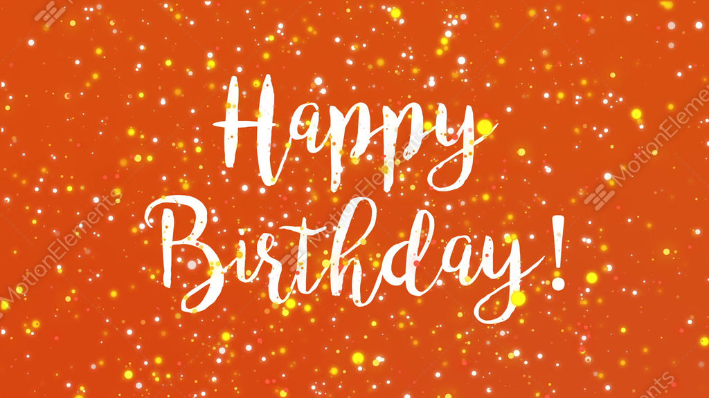 Sparkly Orange Happy Birthday Greeting Card Video Stock Animation