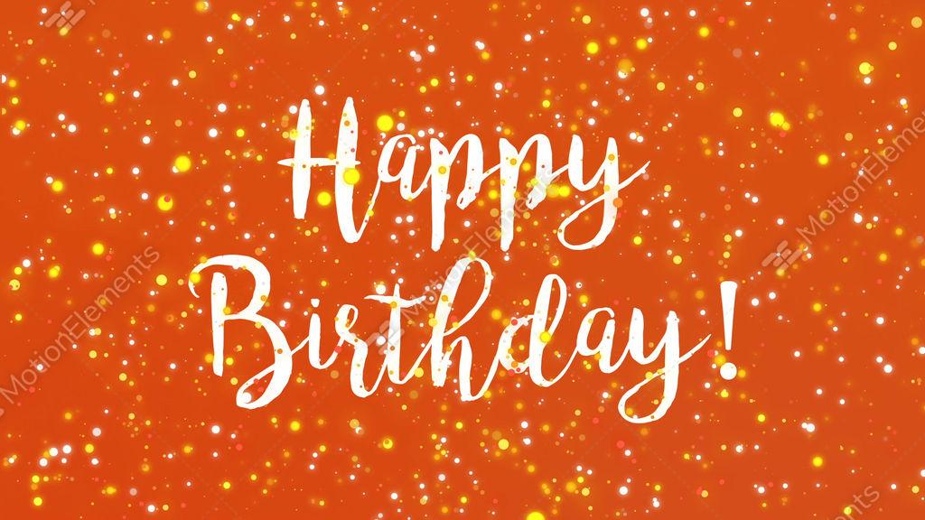 Sparkly Orange Happy Birthday Greeting Card Video Stock Footage