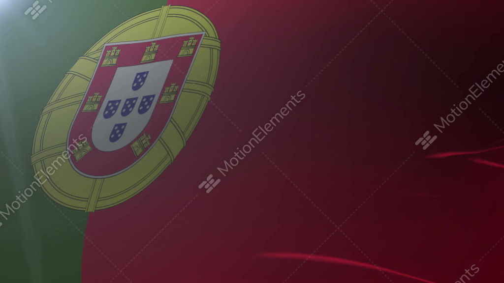 Flag Of Portugal Waving On Flagpole In The Wind National Symbol Of