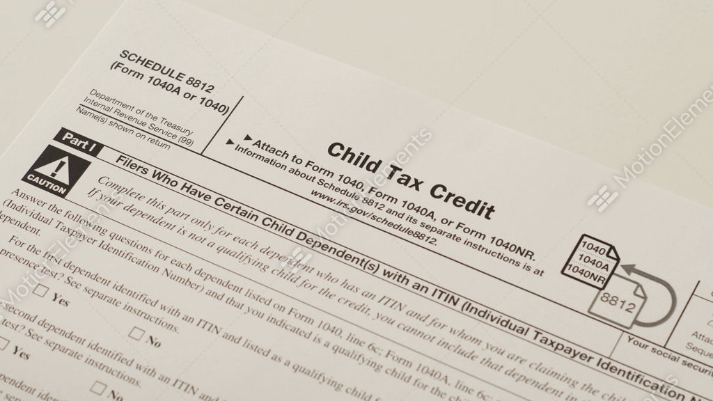 Irs Form 1040 Schedule 8812 Child Tax Credit Stock Video Footage