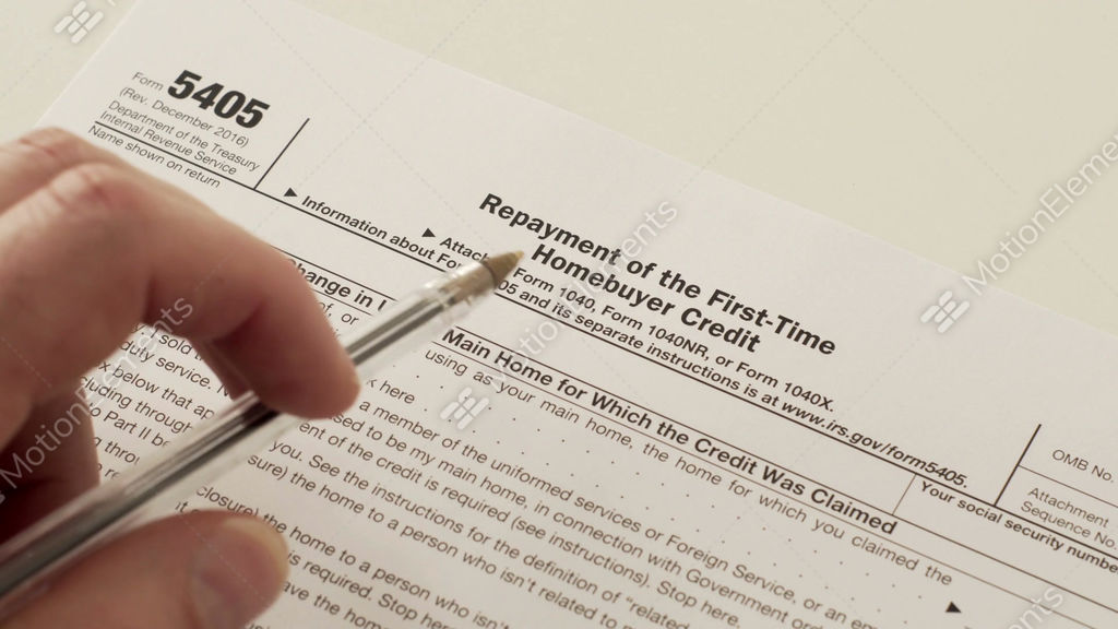 Irs form 5405 repayment of first time homebuyer credit stock video.