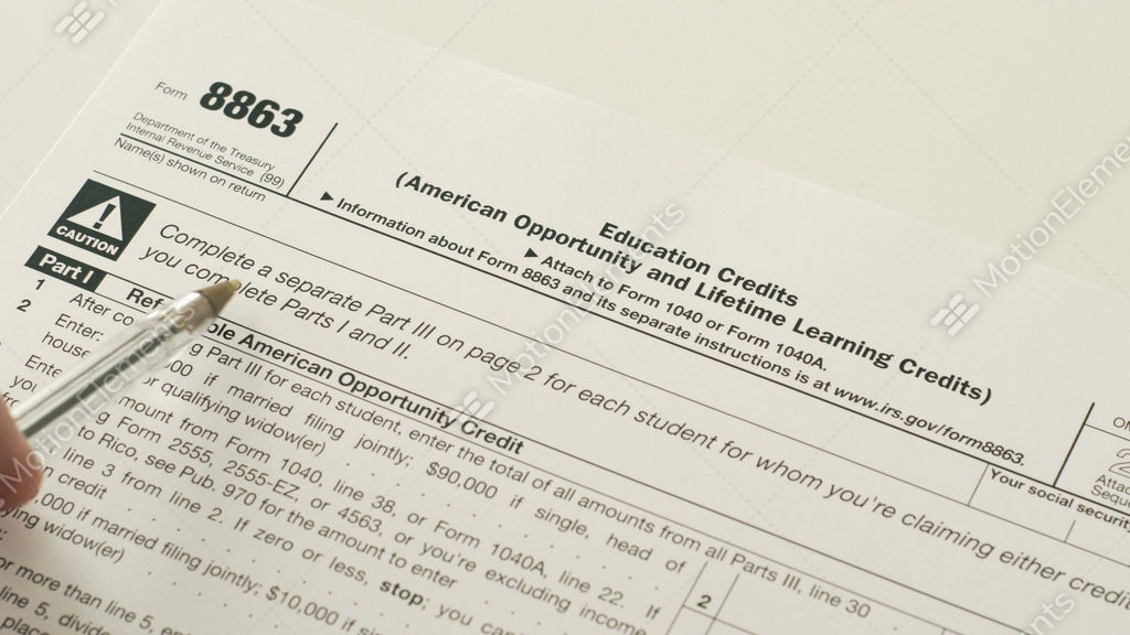 Irs Form 8863 Education Credits Stock Video Footage 10492136