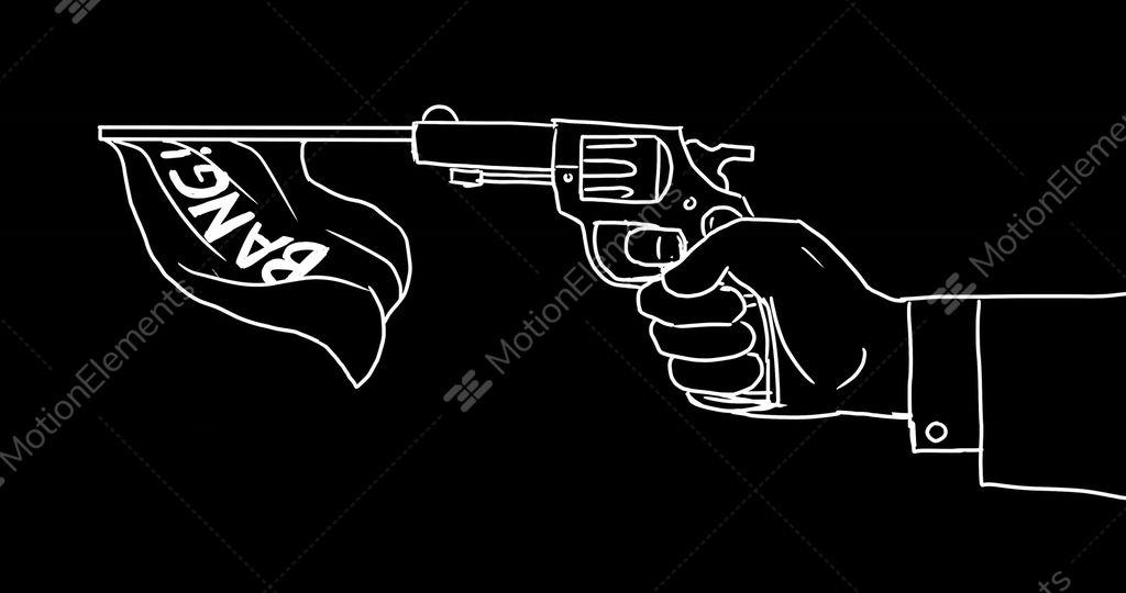 Hand Firing Gun Flag Bang 2d Animation Stock Animation 10496324