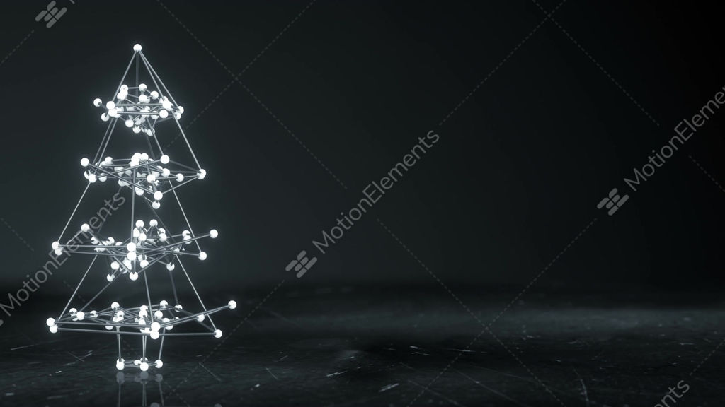 Glowing Wireframe Christmas Tree Shape Loopable Animation Stock ...