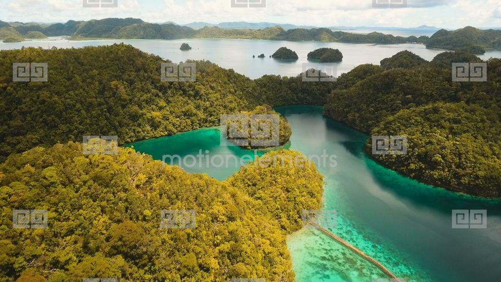 Lagoon Tropical Island: Aerial View Tropical Lagoon,sea, Beach. Tropical Island