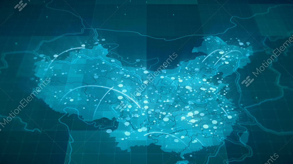 china map globalization 4k stock animation