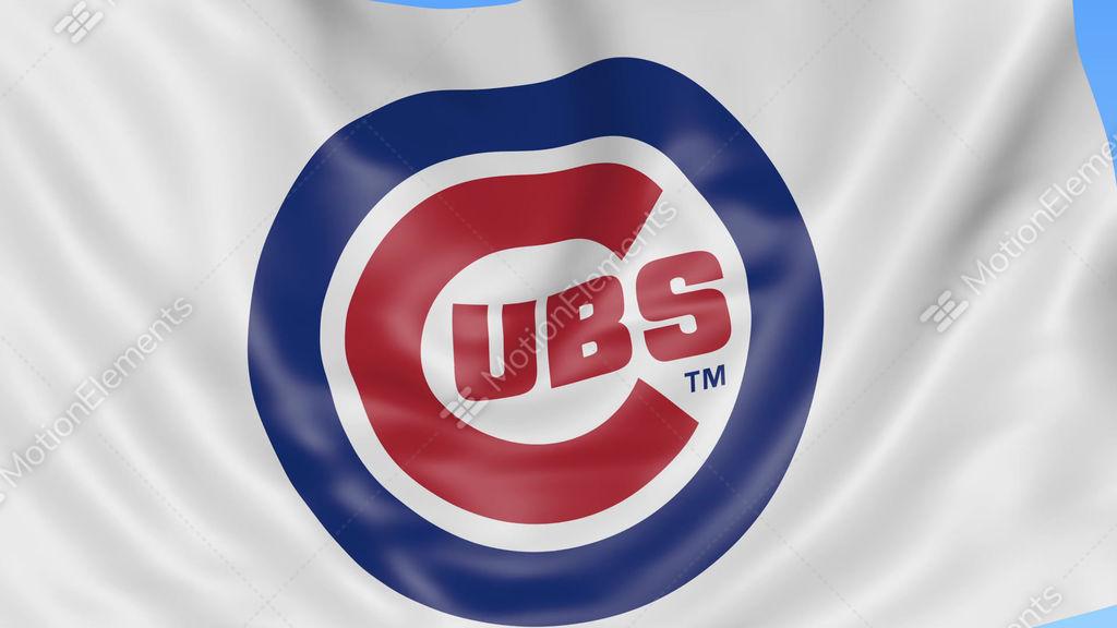 Close Up Of Waving Flag With Chicago Cubs Mlb Baseball Team Logo