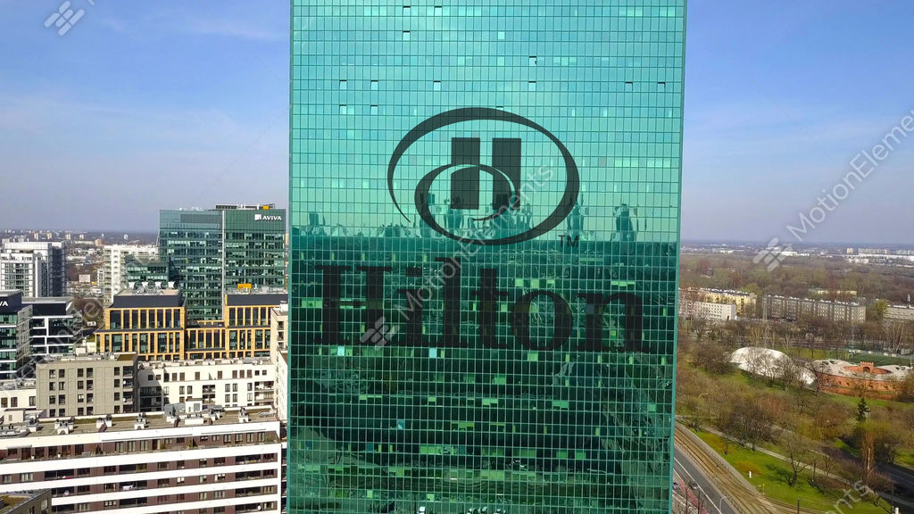 Aerial Shot Of Office Skyscraper With Hilton Hotels Resorts Logo