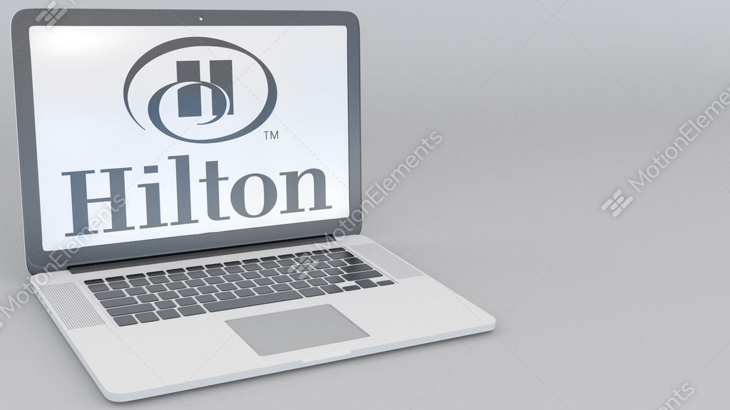 Opening And Closing Laptop With Hilton Hotels Resorts Logo On The