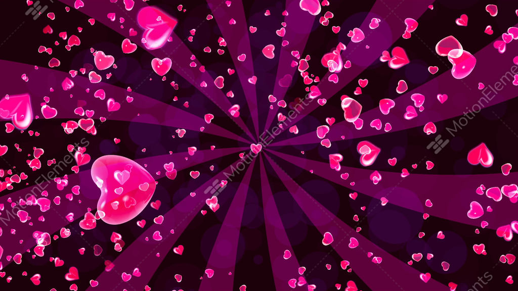 HD Loopable Background With Nice Flying Hearts Stock