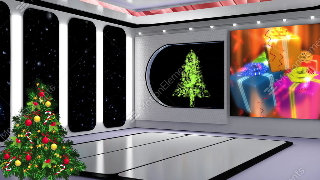christmas tv studio set 21 virtual background loop stock video footage