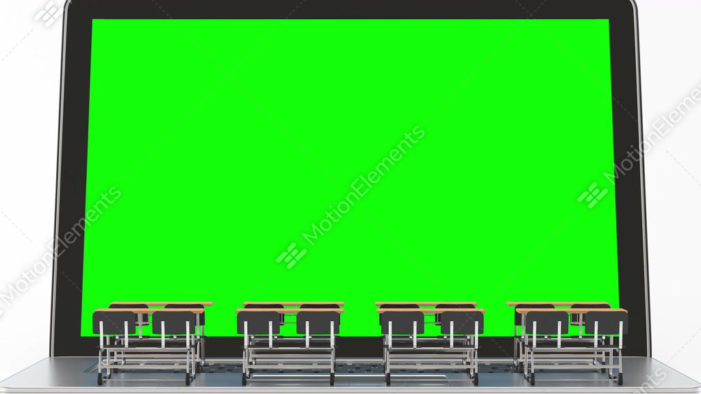 Laptop And School Desk With Track Green Screen Stock Video
