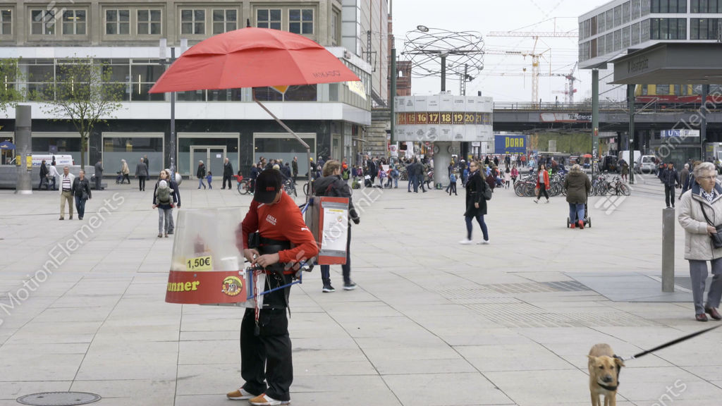 person selling hot dogs at alexanderplatz in berlin stock video footage 10845785. Black Bedroom Furniture Sets. Home Design Ideas