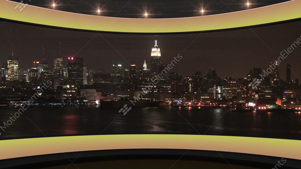 20HD News Virtual Studio Green Screen Background Yellow Cityscape Stock  Animation