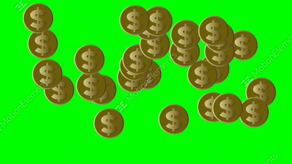 Gold Coins With Us Dollar Symbol Moving On Green Screen Loop