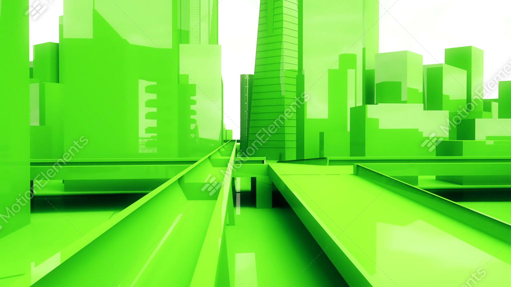 Animated Green Buildings : Abstract animation of a camera moving among urban green