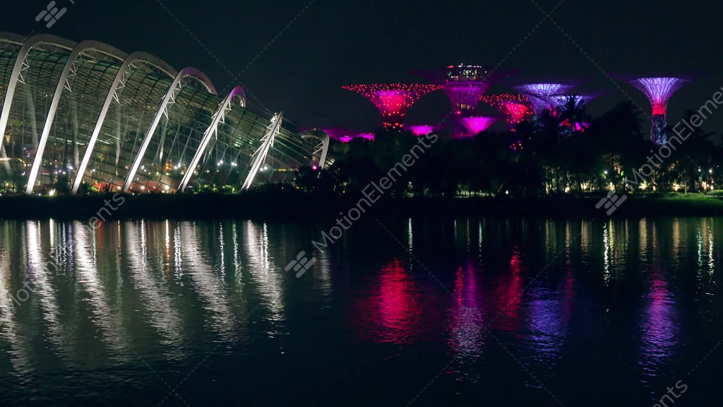 Singapore Night Light Show In Gardens By The Bay Stock video footage  11084517