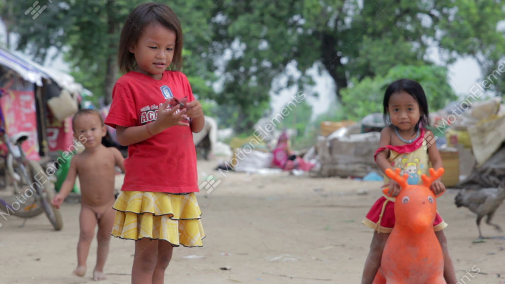 Kids In Cambodian Slums Stock video footage   1099679