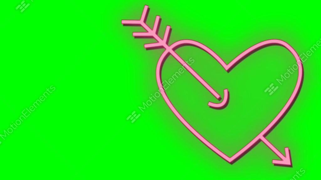 Neon Light Glow At Dark Brick Background Arrow Shot Heart Symbol Of