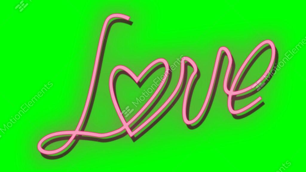 Neon Light Glow At Dark Brick Background Love Word With Stock