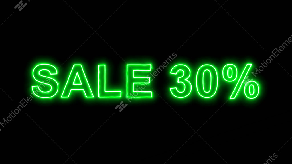 Neon flickering green sale tag SALE 30% in the haze     GIF
