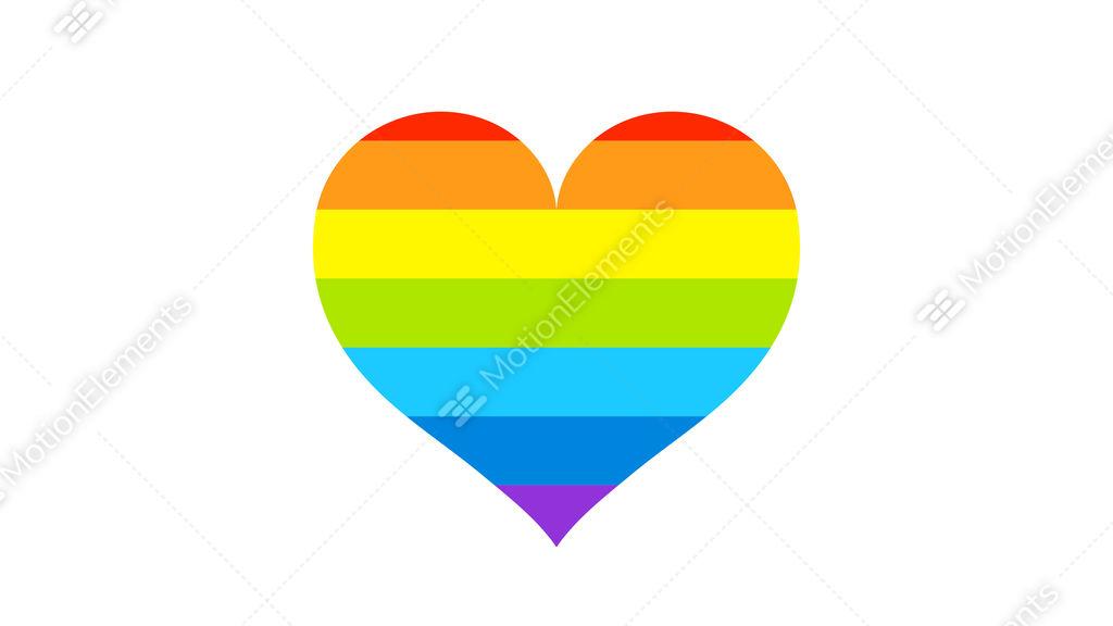 Rainbow Gay Flag Heart Animation On White Background Lgbt Community
