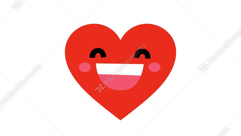Red Beating Cartoon Kawaii Smiling Face Heart Symbol Character 4k
