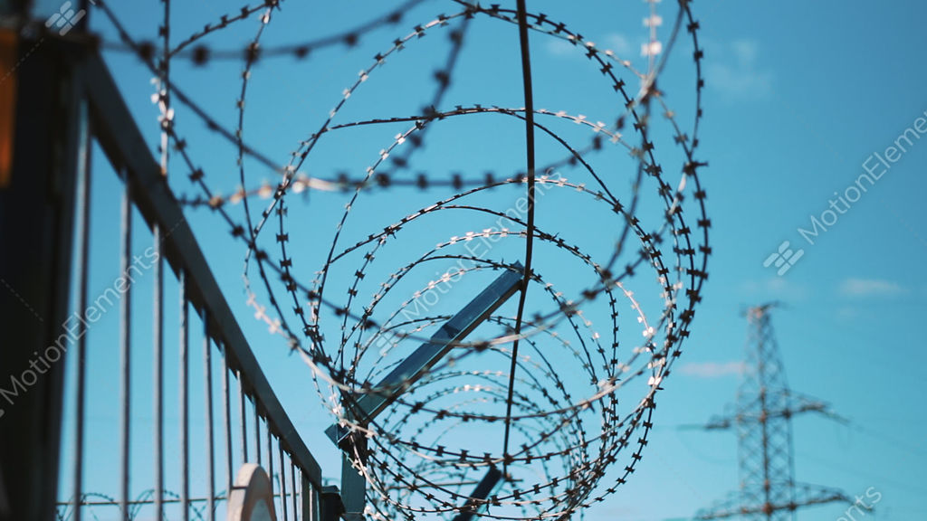 Barbed Wire Fence. Restricted Area. Closed Territory. Warning Of ...