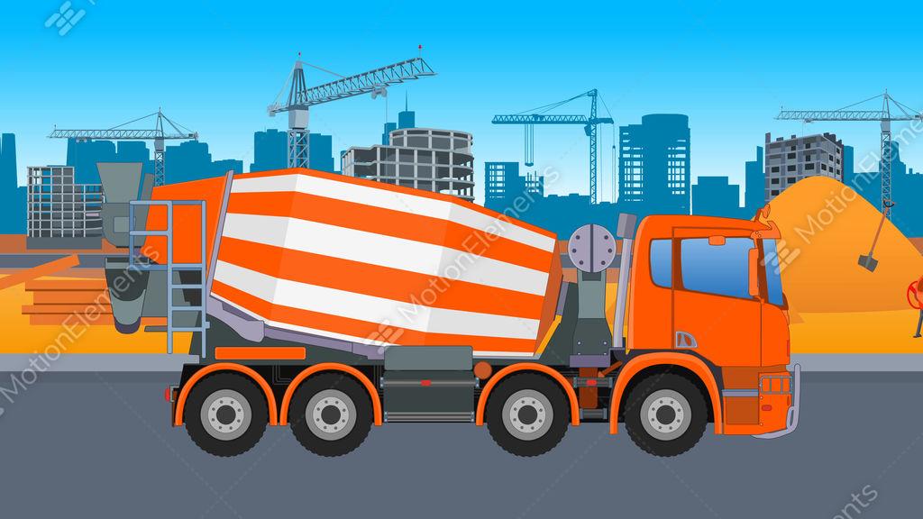 Concrete Mixing Animation : Concrete mixer truck city stock animation