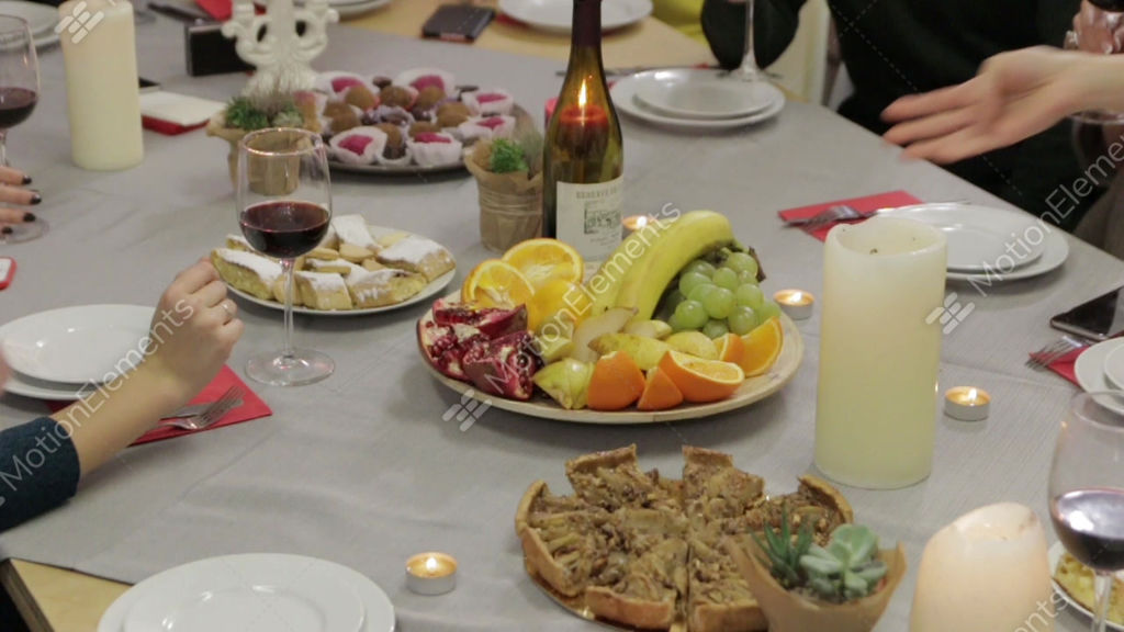 Plate Of Fruit On A Festive Table Stock Video Footage