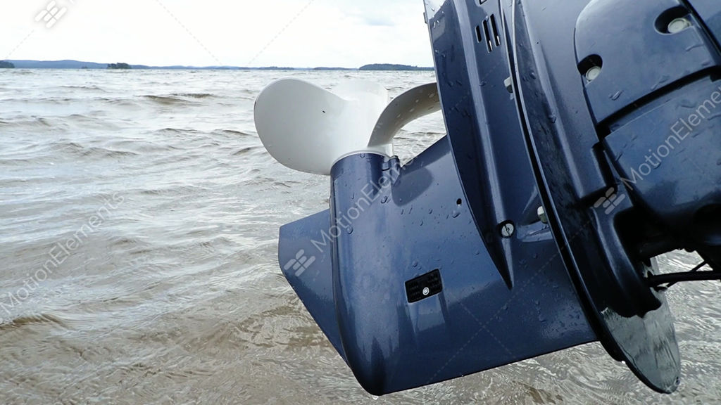 Outboard Motor Propeller Lifted Up From Water Stock Video