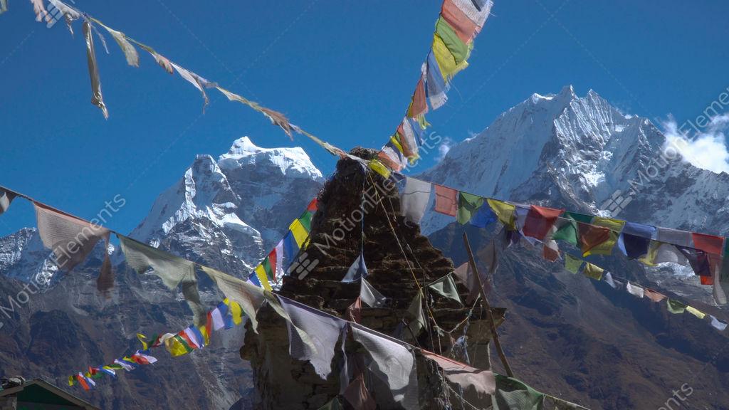 Buddhist Stupa And Snow Mountain Stock video footage