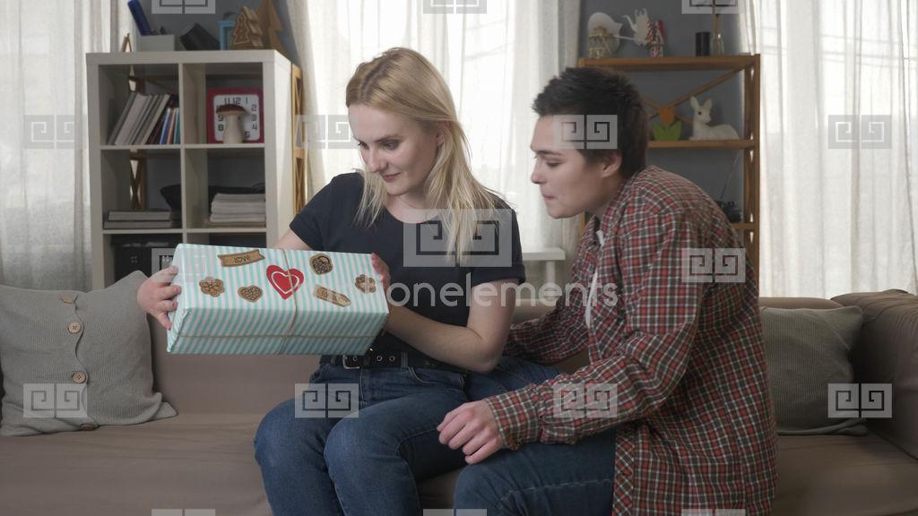 Couch lesbian teen