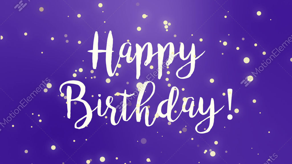 Purple Happy Birthday Greeting Card Video Stock Footage