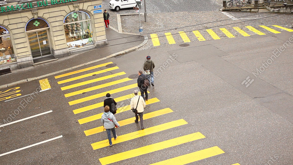 Zebra Crossing At Swiss Roads Stock video footage
