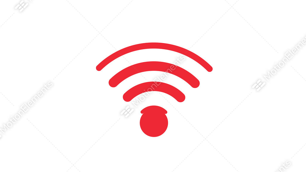 Red Icon Connection To The Wifi Point Stock Animation